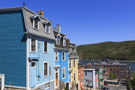 Architecture of the colorful houses on the steep streets of St Johns, Newfoundland, Canada