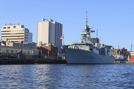 ST. JOHNS, NEWFOUNDLAND AND LABRADOR, CANADA - JULY 14, 2017.  HMCS St. Johns docked in the port of St. Johns after returning from a NATO patrol,  taken on July 14, 2017 in St. Johns . Editorial