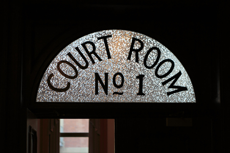 ST. JOHNS, NEWFOUNDLAND AND LABRADOR, CANADA - SEPTEMBER 23, 2017. Sign above the door as a person enters the courtroom at the Supreme Court, taken on september 23, 2017 in St. Johns .