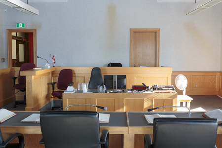 View of a courtroom with judge and lawyers bench