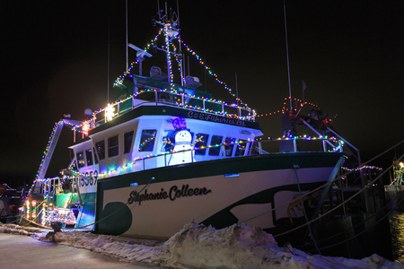 Decorated fishing boats in Port De Grave, Newfoundland and Labrador, Canada.  Editorial