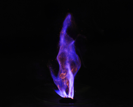 Spontaneous combustion reaction between potassium permanganate and glycerol