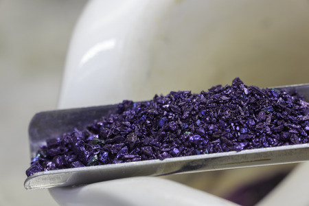 Crystals of potassium permanganate used in medicine and chemical reactions