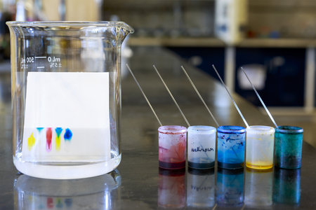 Chemistry of thin layer chromatography with plate, solvent and samples.