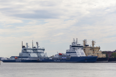 HELSINKI, FINLAND – JULY 5, 2018: Finnish icebreakers docked during the summer months, taken on July 5 in Helsinki.