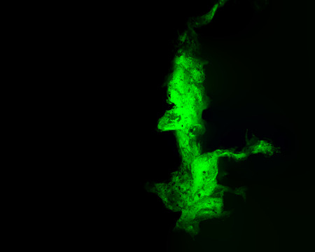 Microplastic, stained with Nile Red dye, viewed through a fluorescence microscope with a green appearance.