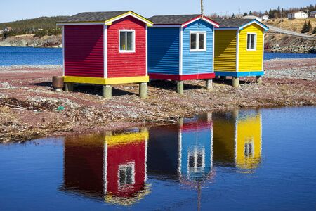 Multicolored Newfoundland and Labrador fishing sheds. A must stop for tourist.