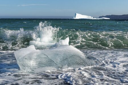 Small sections of an iceberg that have broken off and washed up on the beach, Newfoundland and Labrador, Canada.