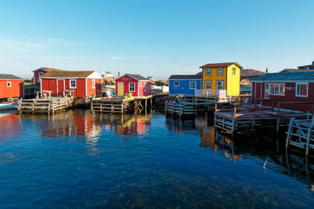 Traditional Newfoundland and Labrador fishing stages.