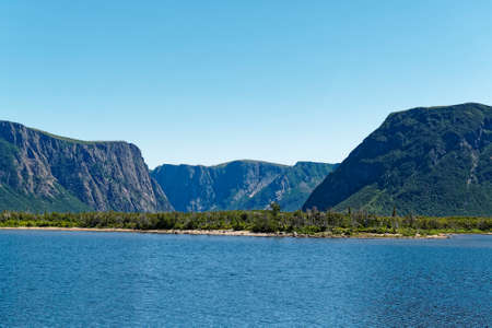 Western Brook Pond fjord in the Long Range Mountains of Newfoundland and Labrador. Archivio Fotografico