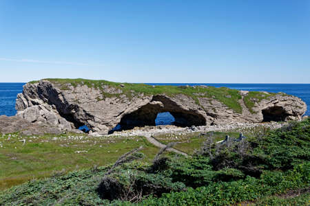 Arches produced by ocean erosion on the northern peninsula of Newfoundland and Labrador. Archivio Fotografico