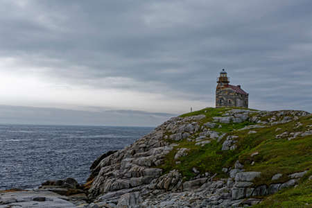 The historic stone lighthouse at Rose Blanche, Newfoundland and Labrado. Archivio Fotografico