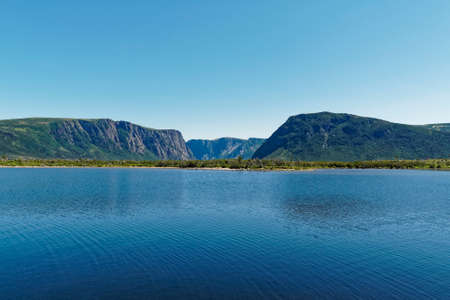 Western Brook Pond fjord in the Long Range Mountains of Newfoundland and Labrador, Canada. Archivio Fotografico