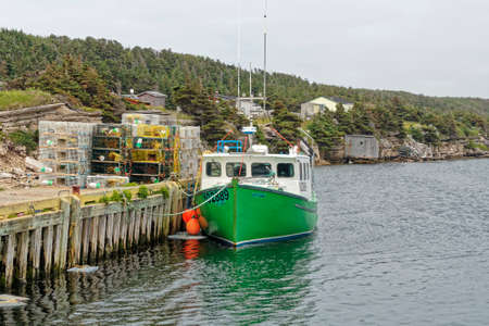 BLUE BEACH, NEWFOUNDLAND AND LABRADOR, CANADA - JULY 13, 2020.  Commercial Atlantic Canadian fish harvesters collecting Atlantic lobster, taken on July 13, 2020 at Blue Beach.