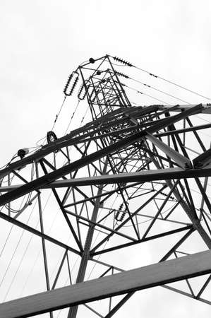 energetics: Closeup of high-tension power line Stock Photo