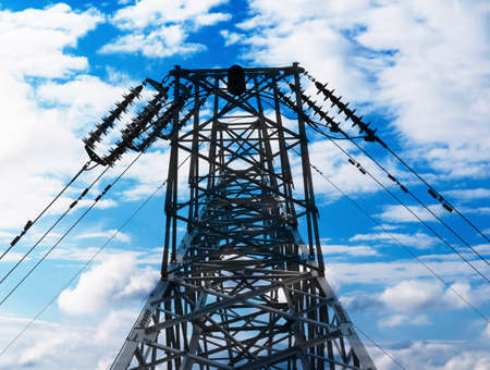 isolator: Closeup of power transmission line Stock Photo