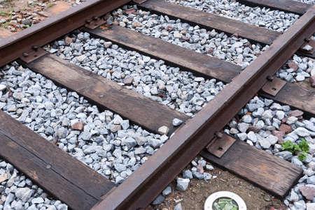 wood railroads: closeup of old railroad