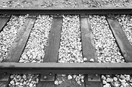 wood railroads: closeup of old railroad trestle