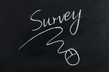 web survey: Survey and mouse sign drawn on chalkboard Stock Photo