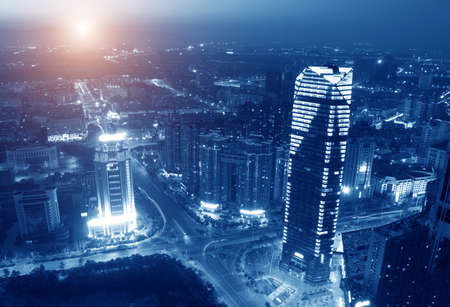 Landscape and urban centers with heavy traffic Stock Photo