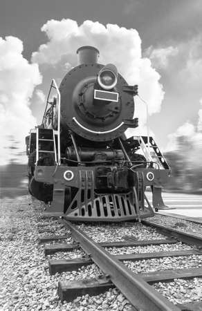 powered: vintage black steam powered railway train