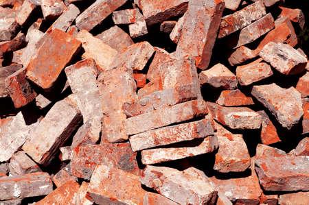debris: Pile of demolished brick wall and concrete debris