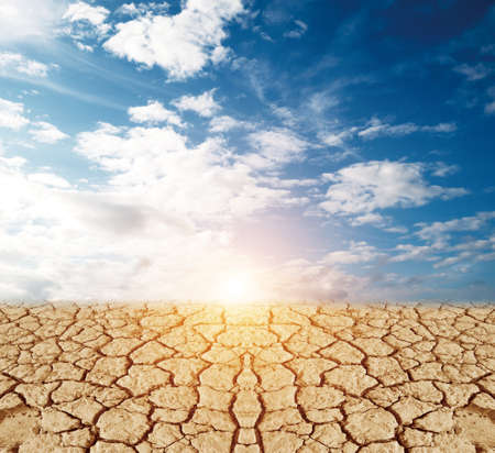 barrenness: land with dry cracked ground and blue sky Stock Photo