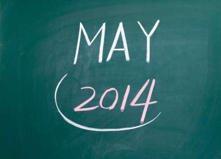 Month May on chalk blackboard photo