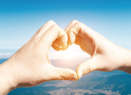loveliness: Heart made of brushes on the background of blue sky Stock Photo