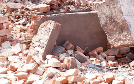brick mason: Pile of Discarded Bricks from Construction Site