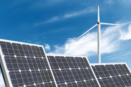 solar energy panels and wind turbine Reklamní fotografie