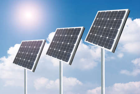 Solar panels with blue sky