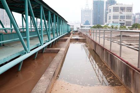 sedimentation: Modern urban wastewater treatment plant.