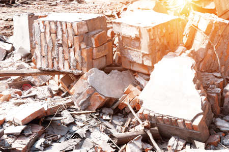deconstruction: Pile of Discarded Bricks from Construction Site