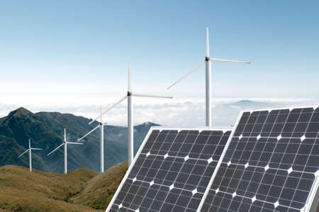 solar energy panels and wind turbine Imagens