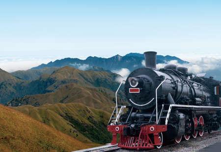 vintage black steam powered railway train