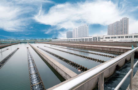filtration: Modern urban wastewater treatment plant.