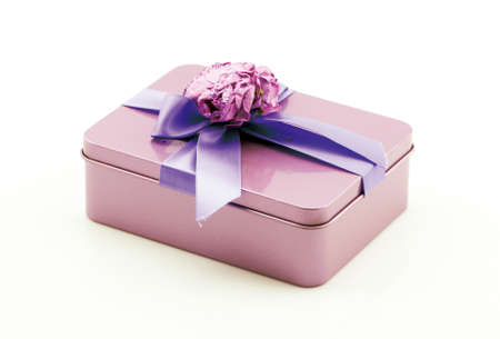 Valentine gift box with ribbon and bow Reklamní fotografie