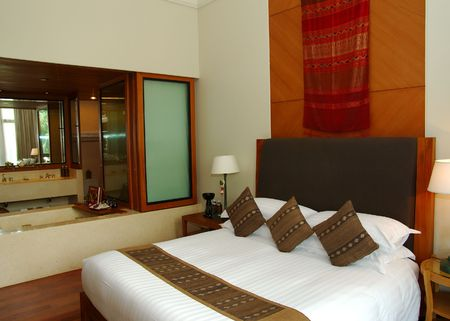 hotel stay: Sleeping room in the spa resort Editorial