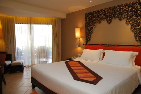 spa resort: Sleeping room in the spa resort Stock Photo