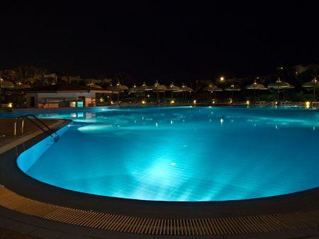 sunshades: sunshades near a resorts pool