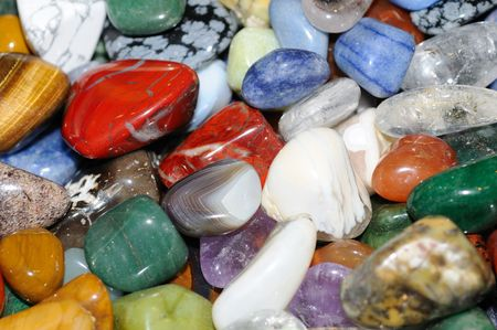 Heap of various colored gems photo