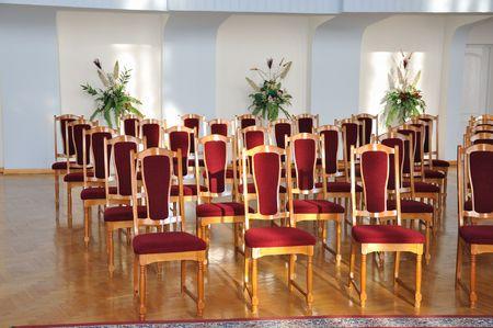 anagrafica: file di sedie in sala registrazione Archivio Fotografico