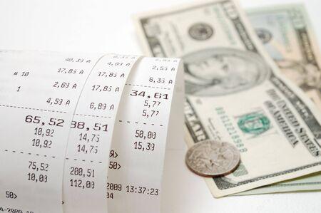 Cash receipt illustrating the spent money photo