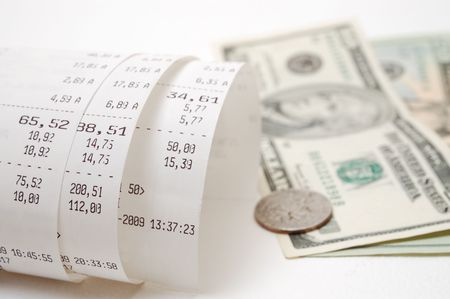 illustrating: Cash receipt illustrating the spent money Stock Photo