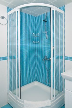 bath room: tiled shower with opened screen Stock Photo