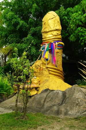erect: sculpture of phallus on Koh Samui island, Thailand