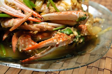 Crabs prepared with spicy curry photo