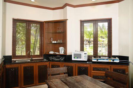 A stylish modern kitchen interior photo