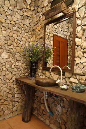 Thai style bathroom with stone walls Stock Photo - 6225531